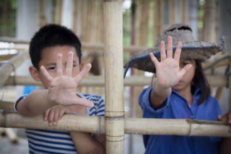 Violence children and trafficking concept. Anti-child labor, Rights Day on December 10.