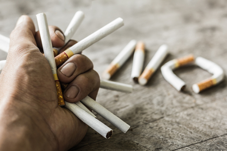 A man's hand breaks a bunch of cigarettes,  No Smoking,  Quit Smoking Concept. World No Tobacco Day,  healthy lifestyle.