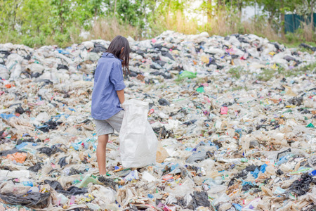 Poor children collect garbage for sale,, the concept of pollution and the environment,Recycling old rubbish,World Environment Day