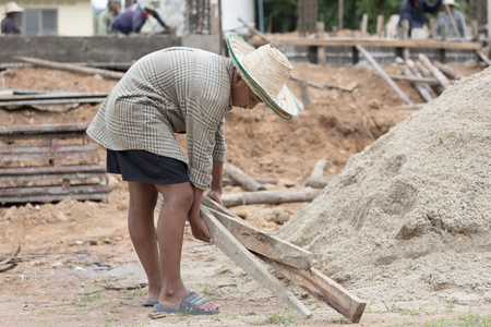 Children are forced to work construction., Violence children and trafficking concept,Anti-child labor, Rights Day on December 10.