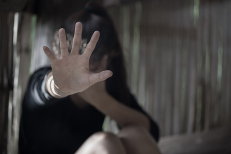 Men are violent to women, Stop sexual abuse , anti-trafficking and stopping violence against women, International Womens Day Stock Photo