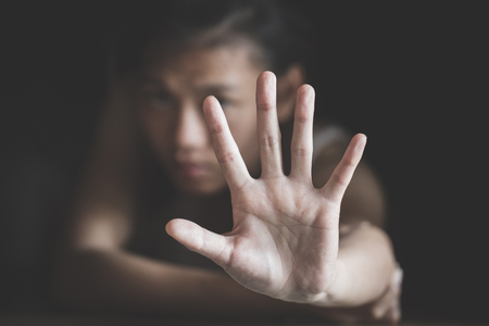 Women  bondage lift hands against violence against women,  international womens day,  The concept of sexual harassment against women and rape.