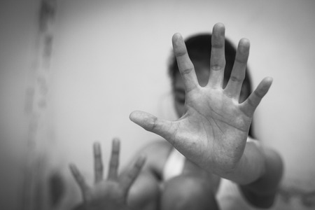 Stop violence against women, Concept of stopping sexual abuse and rape, Domestic Violence and Trafficking Stock Photo