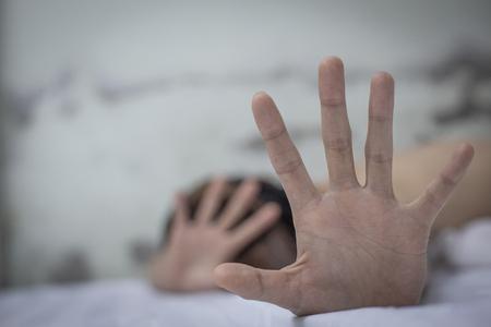 Women  bondage lift hands against violence against women,  image blur,international womens day Stock Photo