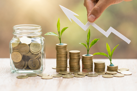 step of coins stacks with tree growing on top, money, saving and investment or Future financial planning, concept for business, innovation, growth and money .