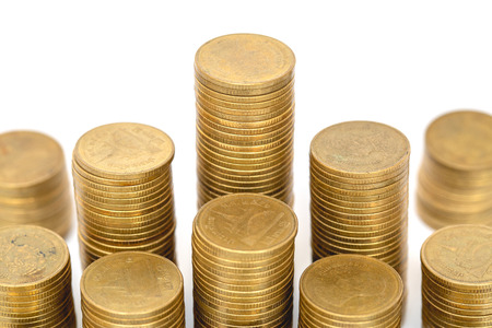 Gold coins stacks isolated on white background. Saving, Coin stack growing business. Investment money concept.