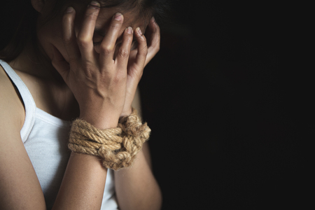 Women who are victims of human trafficking, stop violence against women Stock Photo