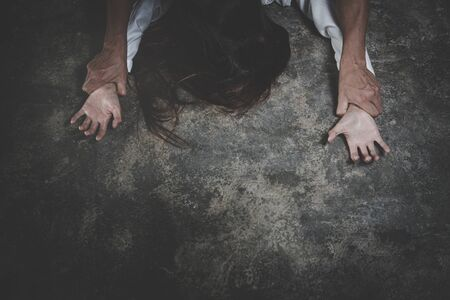 Woman with bruises and wound domestic violence rape, concept photo of sexual assault.