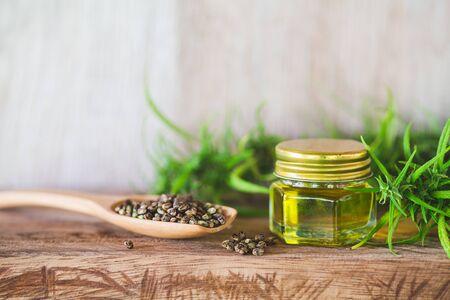 CBD oil hemp products, medical marijuana,  cannabinoids and health. Stock Photo