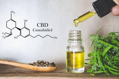 Hemp oil, CBD chemical formula, Cannabis oil in pipette and hemp seeds in a wooden spoon, Medical herb concept 写真素材