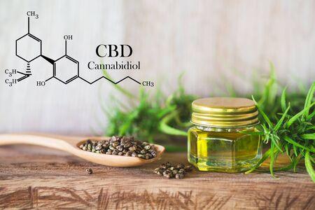 Cannabis of the formula CBD cannabidiol. hemp oil, CBD oil cannabis extract, Medical cannabis concept, Stock Photo