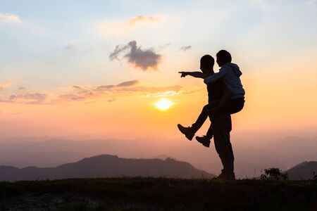 Happy couple in love. Man and woman tourists in the mountains. Happy Valentine's Day. Stock Photo - 137049238