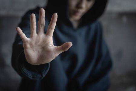 Women raise hands to prohibit against drugsn, Stop drug addiction concept, International Day against Drug Abuse.