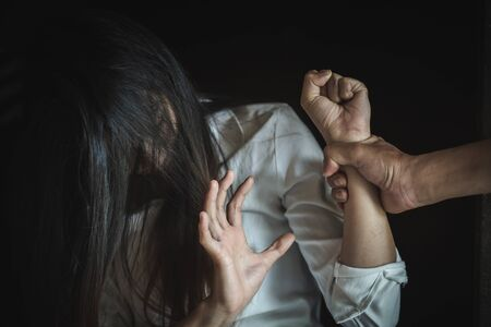 Woman in fear of domestic abuse, Domestic violence concept, Women violence and abused concept, Sexual  and rape. Banque d'images