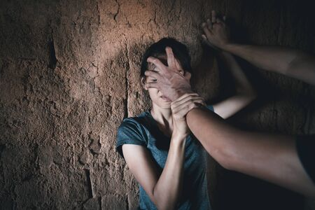 Woman victim of domestic violence and abuse. Sexual harassment and rape. human rights Фото со стока