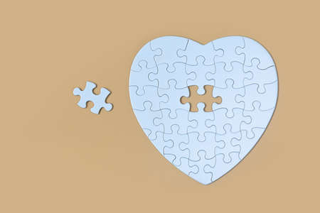Unfinished white jigsaw puzzle pieces on Yellow  background, The last piece of jigsaw puzzle, Copy space. 版權商用圖片 - 151710512