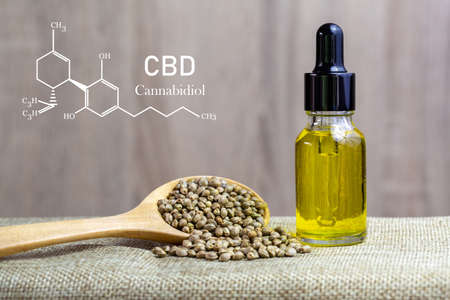 CBD elements in Cannabis,  CBD oil cannabis extract, researching hemp oil extracts for medical purposes. 版權商用圖片