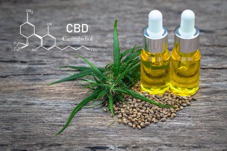 CBD elements in Cannabis,  hemp oil extracts in jars, medical marijuana, legal light drugs prescribe, alternative remedy or medication, medicine concept Imagens