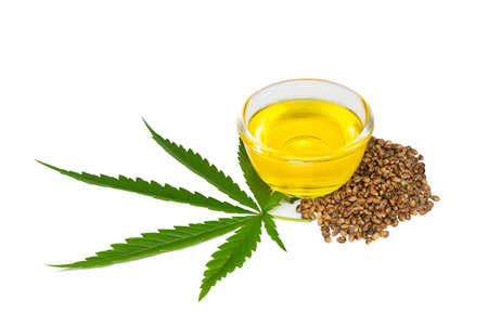Bowl with hemp oil, leaf and seeds on white background, CBD hemp oil. 免版税图像