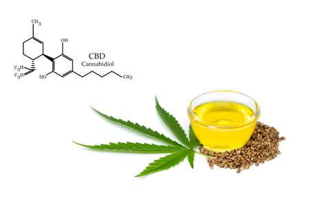 Bowl with hemp oil, leaf and seeds on white background, CBD hemp oil.  CBD Chemical Formula, Cannabis oil, Medical herb concept. Cannabidiol or CBD molecular structural chemical formula. 版權商用圖片