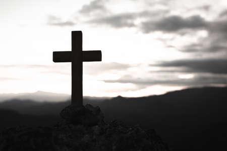 Religious concepts. Christian wooden cross.  Jesus Christ cross, Easter, resurrection concept. 版權商用圖片