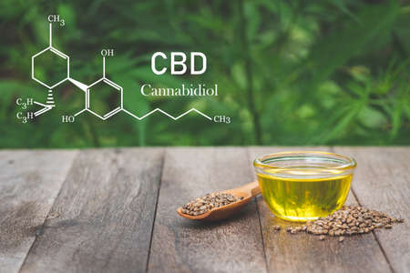 CBD elements in Cannabis, Glass bottles containing  hemp oil,  drugs extracted , CBD Cannabis Oil  of researchers or medical team. Herbal alternative medicine. Stock Photo