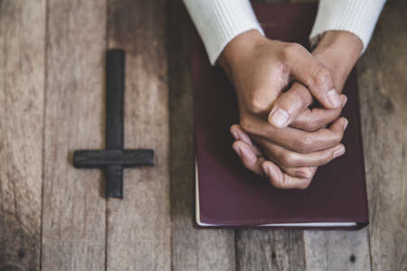Hands folded in prayer concept for faith Banque d'images