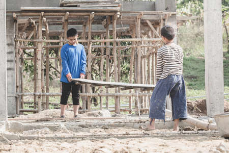 Children are forced to work construction