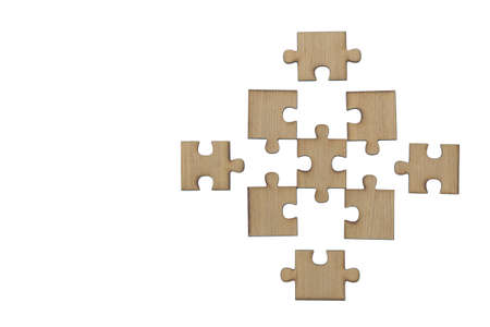 Wooden jigsaw puzzle, pieces of a puzzle, Last Jigsaw Puzzle, Isolated on White Background Фото со стока