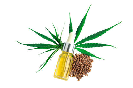 bottle with hemp oil, hemp leaf and seeds  isolated on white background, CBD oil hemp products, cannabis extract oil, Medical marijuana.