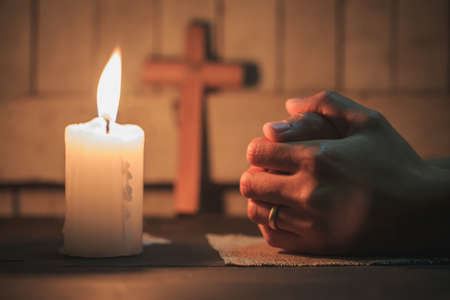 Praying Hands. Eucharist Therapy Bless God Helping Repent Catholic Easter Lent Mind Pray. Christian Religion concept background.