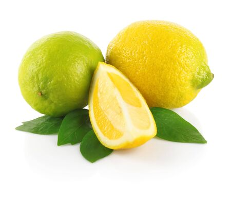 Fresh limes with section and green leaves on white background Stock Photo - 7061743