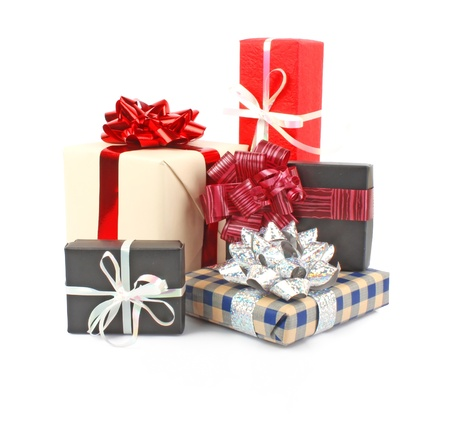 gift boxes: Christmas gift boxes with ribbon and bow on white, Christmas decorations  Stock Photo