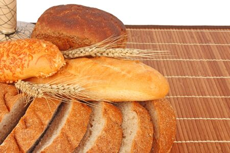 foodstuffs: Composition of fresh bread and bakery with ear of wheat , foodstuffs