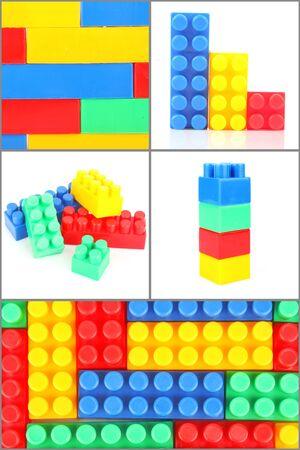 Set of plastic building blocks, colorful childrens toys photo