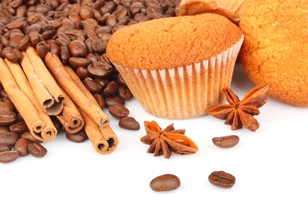 Muffins, coffee beans and spice for culinary, food ingredient photo Stock Photo - 13618032