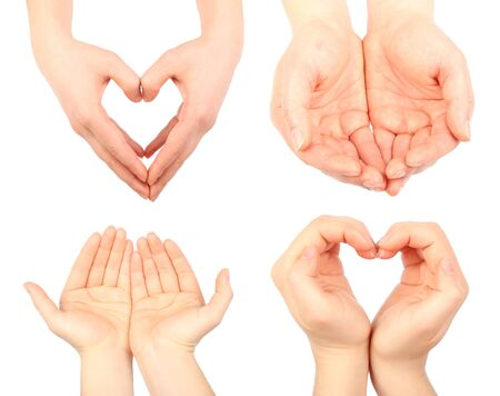handbreadth: Flat of hand, set of human handbreadth isolated on white background