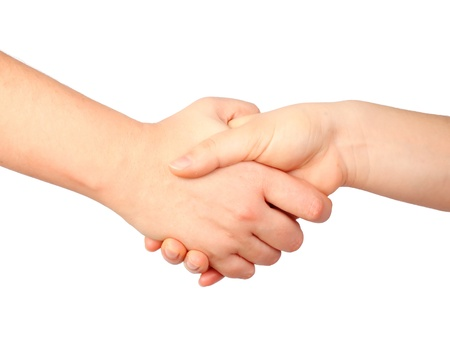 hand symbol, human handshake, friendship concept isolated on white photo