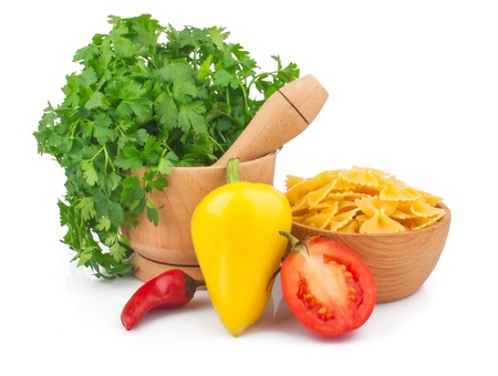 Wooden mortar with parsley, vegetable and pasta, food ingredient photo Stock Photo - 17576230