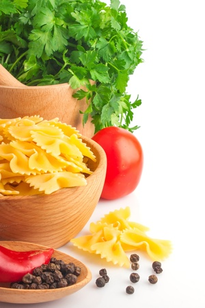 Pasta in bowl, vegetable and spices, food ingredient photo Stock Photo - 17576231