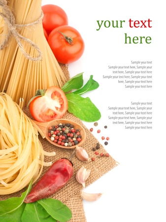 Italian pasta with spices and vegetables & text, food ingredients photo