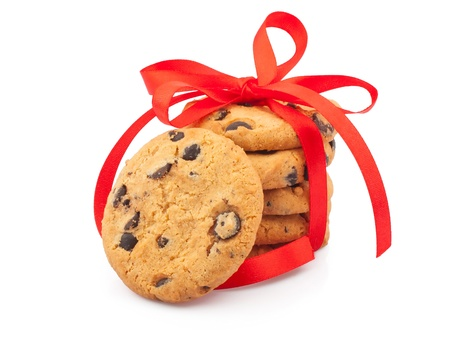 Stack of delicious cookies with chocolate chips   ribbon, food photos photo