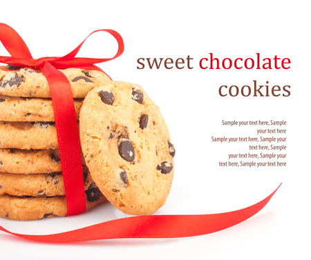 Stack of delicious cookies with chocolate chips   ribbon with text, food photos photo
