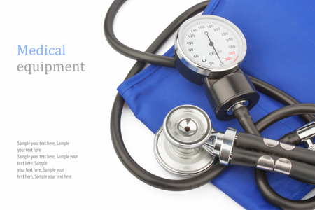 Manometer and stethoscope   text on white background, medical equipment photo photo