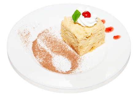 napoleon dessert: Cake napoleon puff with custard cream sweet dessert on plate