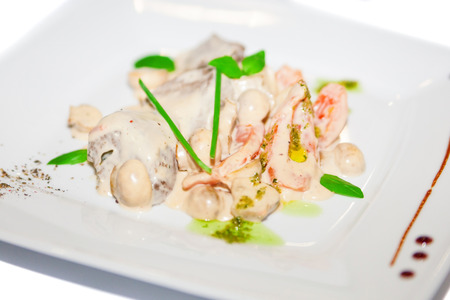 ingestion: Meat with mushroom in white sauce on plate restaurant menu