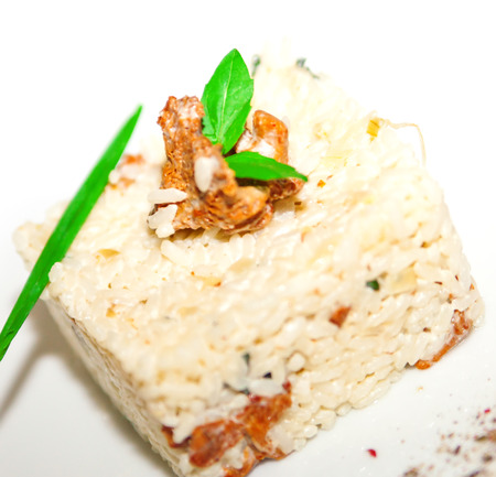 ingestion: Boiled rice with chanterelle mushroom   spice on plate restaurant menu