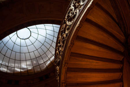 steps and staircases: Rich entrance hall in the Lviv ancient casino with wooden staircases