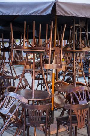 vintage furniture: Street caf? with vintage furniture under open sky