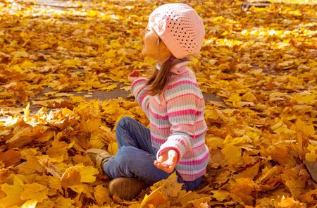 Cute little girl walking in the falling leaves, autumn photo Stock Photo
